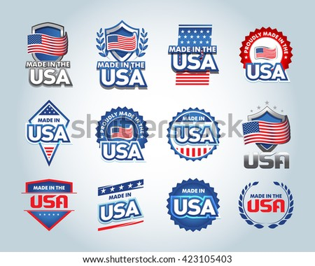 USA and made in the USA icons set. American made. Set of vector icons, stamps, seals, banners, labels, logos, badges. Vector illustration. - stock vector