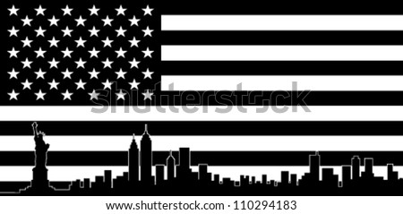 USA Black Flag New York City Vector Skyline - stock vector