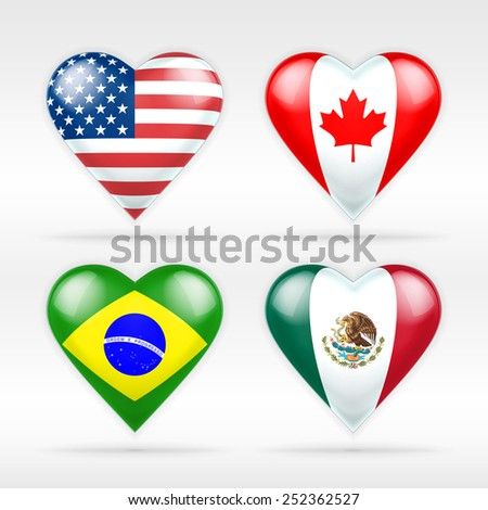 USA, Canada, Brazil and Mexico heart flag set of American states as collection of isolated vector state flags icon elements on white - stock vector