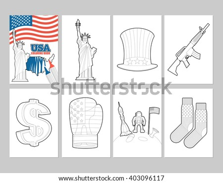 USA coloring book. Patriotic Illustrations in linear style of painting. Statue of Liberty and Uncle Sam hat. first astronaut on moon. Socks with national flag of America. Sign dollar and boxing glove  - stock vector