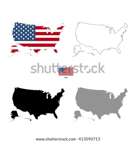 USA country black silhouette and with flag on background, isolated on white - stock vector