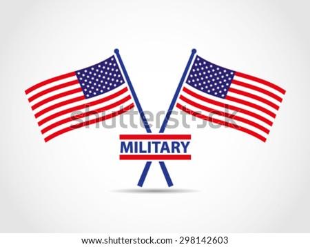 USA Crosses Flags Emblem Military - stock vector