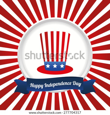 USA design over white and red stripes, background, vector illustration. - stock vector