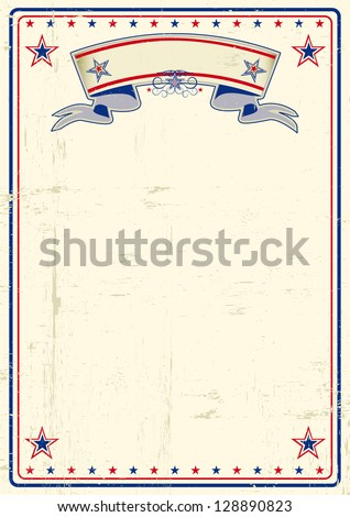 USA dirty poster. A vintage poster with a large scratched frame and a grunge background for your publicity. - stock vector