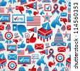 USA elections icon set seamless pattern background. Vector file layered for easy manipulation and custom coloring. - stock vector