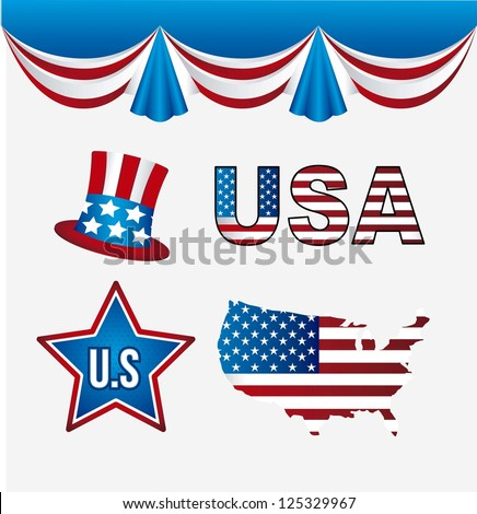 usa elements over white background. vector illustration - stock vector