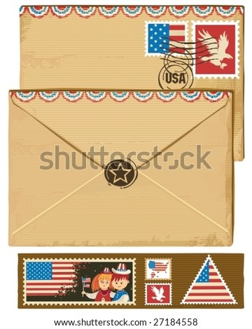 USA envelope and stamps.  To see similar, please VISIT MY GALLERY. - stock vector