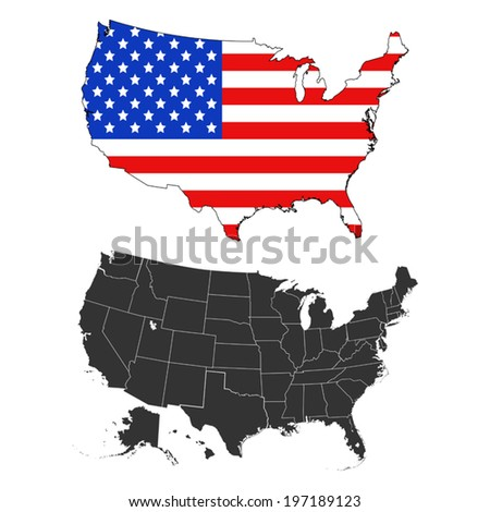 USA flag-design map  - stock vector