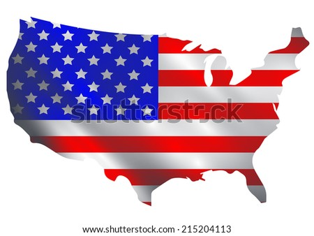 USA flag in a shape of USA borders vector - stock vector