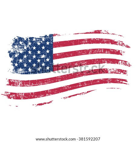 USA flag in grunge style on a white background - stock vector