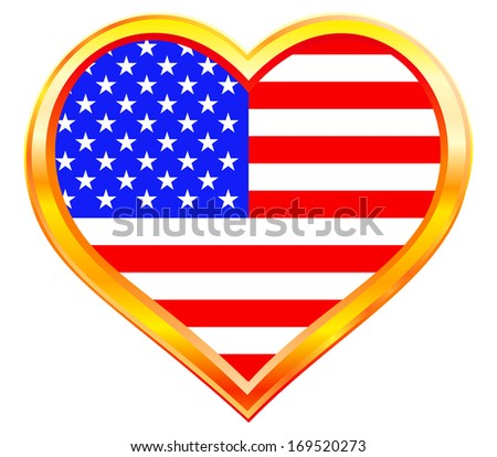 USA flag in the heart gold frame - stock vector