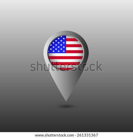 USA flag marker. Vector illustration. - stock vector