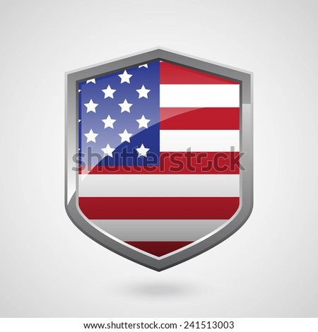 USA Flag on a Grey Shiny Shield, Vector Illustration isolate on Grey Background - stock vector