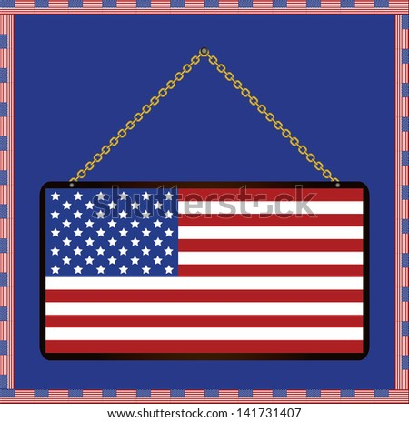 Usa flag sign board with hanging sign, isolated vector. - stock vector