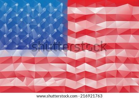 USA flag - triangular polygonal vector pattern - stock vector