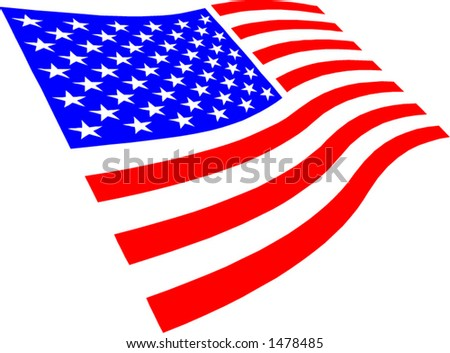 USA flag waving. Vector file change to any size you wish - stock vector