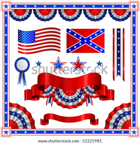 USA flags and banners - stock vector