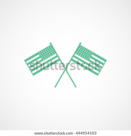 USA Flags Independence Day Green Flat Icon On White Background - stock vector