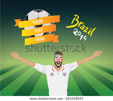Usa football fan vector with banner and text - stock vector