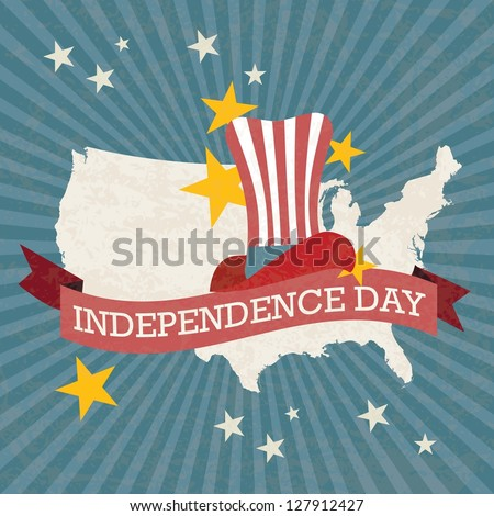Usa label, with map, stars and hat, on vintage background. Vector Illustration - stock vector