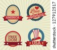 USA Labels collection, on vintage background. Vector Illustration - stock vector