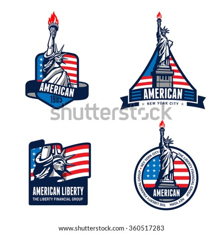 USA Liberty Statue Logo Badge design vector templates. American 4th July. United States of America symbols of Freedom Justice Truth Equity Honor Patriotism Democracy Logotype. Independence day banners - stock vector