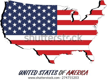 USA map and flag in an abstract background, a conceptual design of United States map covered with the American flag with 3D abstract name of the US, for webpage templates or construction - stock vector
