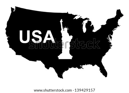 USA Map Black Vector Silhouette Illustration - stock vector