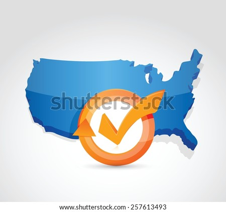 USA map check mark cycle illustration design over white - stock vector