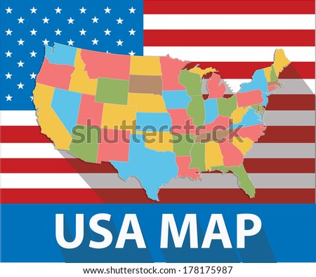 USA map,Colorful version,vector - stock vector