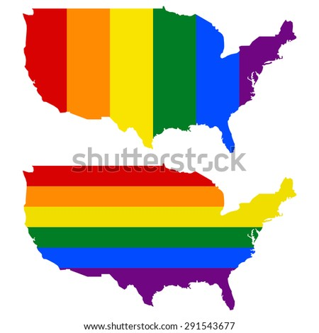 USA - Map, filled with a rainbow flag pattern - stock vector