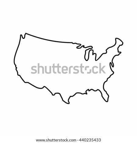 USA map icon, outline style - stock vector