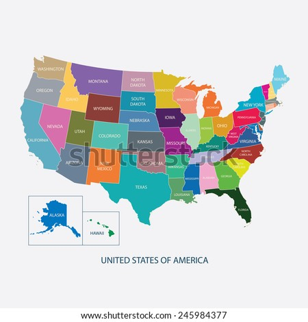 USA MAP IN COLOR WITH NAME OF COUNTRIES,UNITED STATES OF AMERICA MAP, US MAP flat illustration vector  - stock vector