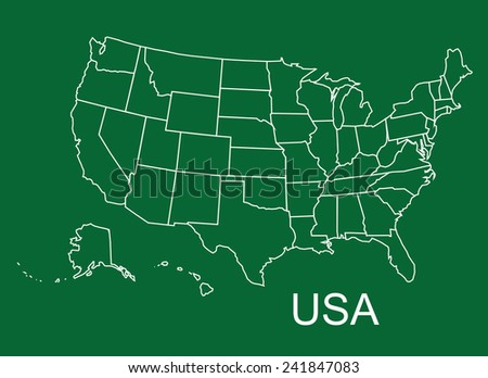 USA map in green background, usa map vector, map vector - stock vector