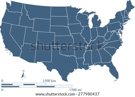 USA map outlines with mileage and kilometer scales, Vector map of United States, map reference: http://nationalmap.gov - stock vector