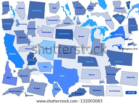 USA map puzzle outline. Vector illustration. Elements of horizontal, vertical and diagonal directions are moved.  The lakes and some of the state remained in place. - stock vector