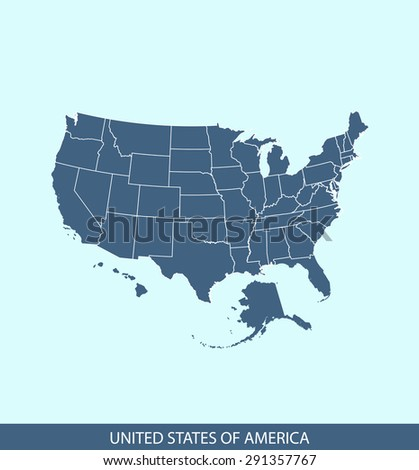 USA map vector, United States map outlines in a contrasted blue background for brochure and web-page templates and science & publication uses - stock vector