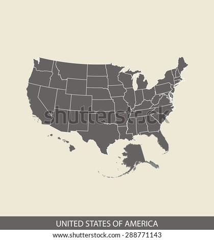 USA map vector, United States map outlines in a contrasted grey background for brochure and web-page templates and science & publication uses - stock vector