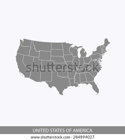 USA map vector, United States map outlines in contrasted grey background for brochure design and science and publication uses - stock vector