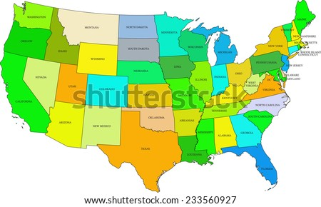USA map vector, United States map outlines with a range of colors that tried to be related to climatic and vegetation conditions  - stock vector