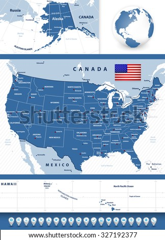 USA map with a 3D bubble shape navigation icons. - stock vector