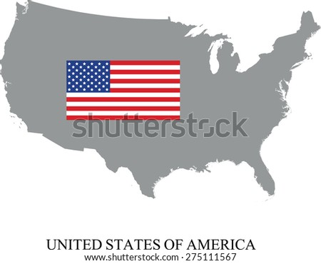 USA map with flag - stock vector