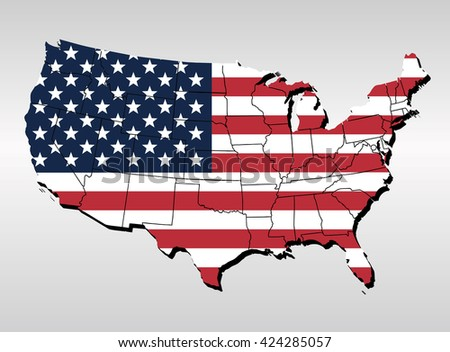USA map with flag,usa flag pattern in country map,usa flag shape on cotton fabric texture,usa flag textile on white cloth: United States of America map on patterned flag in vintage tone - stock vector