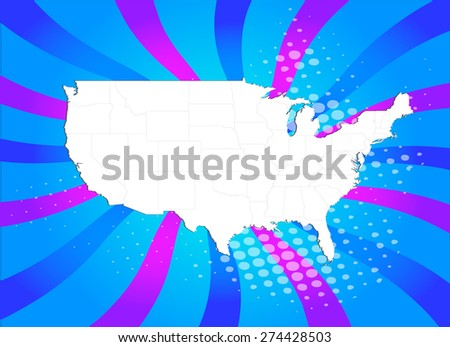 USA Map with High Detail and Captivating Background - Vectors - stock vector
