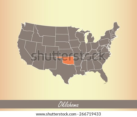 USA map with highlighted state of Oklahoma, on an old paper background - stock vector