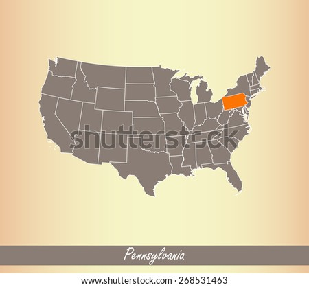 USA map with highlighted state of Pennsylvania, on an old paper background - stock vector
