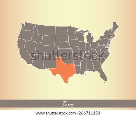USA map with highlighted state of Texas, on an old paper background - stock vector