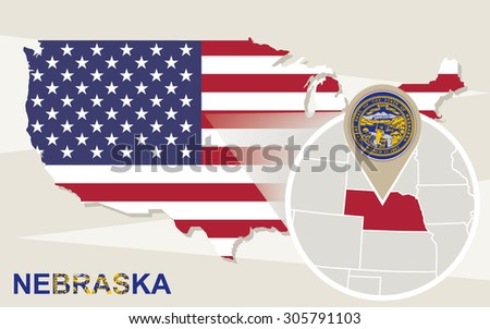 USA map with magnified Nebraska State. Nebraska flag and map. - stock vector