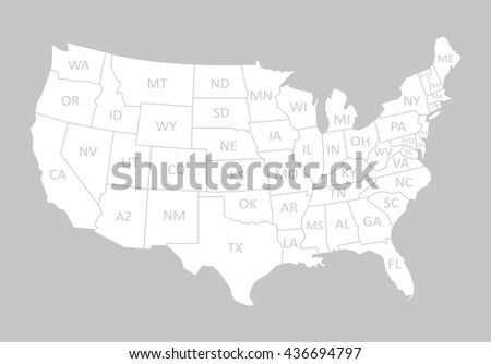 USA MAP WITH NAME OF COUNTRIES,UNITED STATES OF AMERICA MAP - stock vector