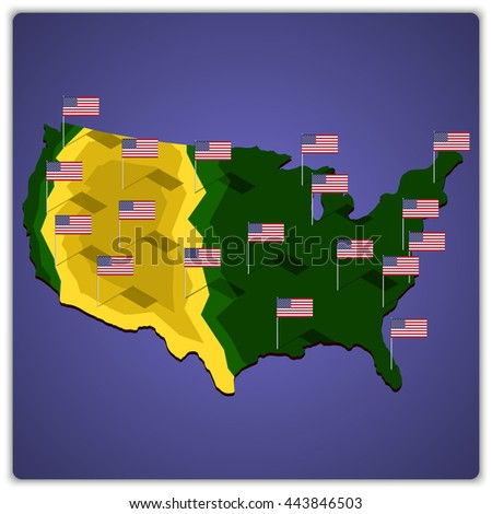 USA map with national flags. - stock vector
